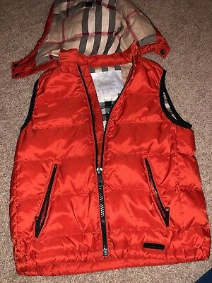 Burberry Kids' Quilted Down Vest W/ Removeable Hood red 6 Years