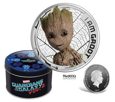 2017 Cook Islands Marvel Guardians of Galaxy GROOT Silver Proof Coin