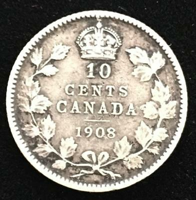 1908 Canada 10 Cents Silver Better Grade Nice Details