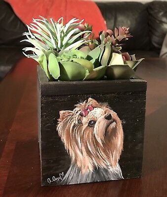 Hand Painted Art Yorkshire Terrier YORKIE dog  Wooden artificial Cactus Boutique