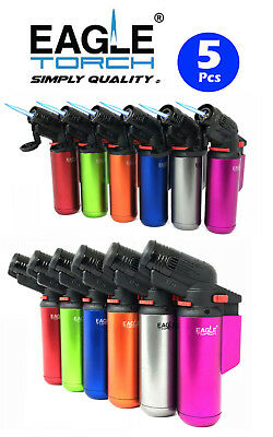 "5 Pcs 4"" Eagle Torch Jet Flame Gun Lighter (V.2) Refillable Lockable Windproof"