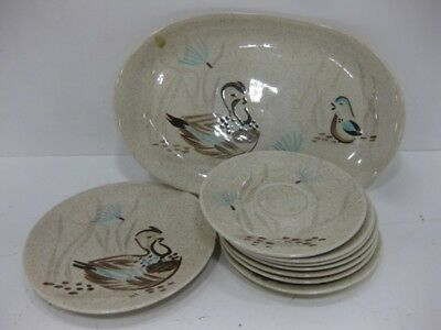 Vintage 9 Piece Set Of Red Wing Bob White Blue Quail Dishes (Free Shipping)