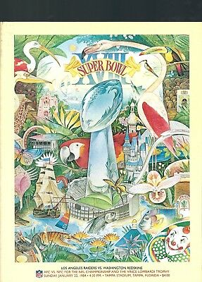 Super Bowl 18 Game Program Raiders V Redskins 1984.