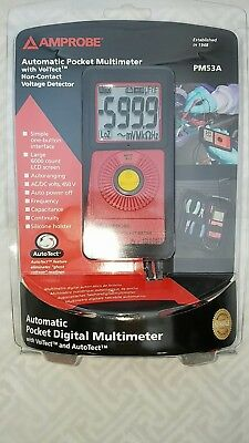 Amprobe Pm53A Automatic Pocket Multimeter, With Non Contact Voltage Detector
