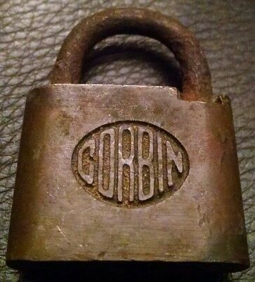 CORBIN Lock Co Rustic Padlock LOCK Vintage Antique Display (No KEY)