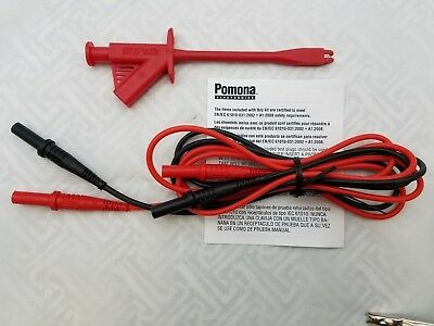 "Pomona 5908A Silicone Test Leads 48"" Free Greenlee Tga-2 Alligator Grabber !"
