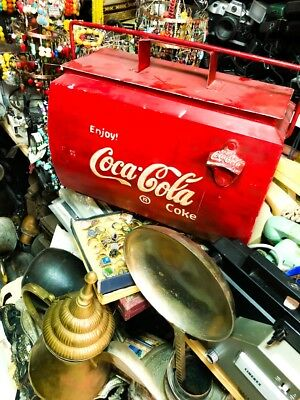Vintage Coca Cola Metal Cool Box from the 1950s