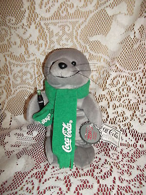Coca Cola brand Bean Bag Plush Seal in green scarf with bottle & tags