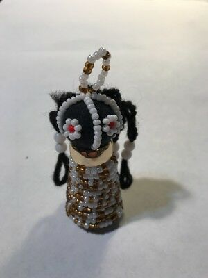 Ndebele Doll, Small, Gold Toned Necklace, Green And Opalescent , Ornament Size