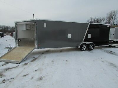 New 7 X 29 Enclosed Snowmobile Trailer 4 Place *all Aluminum* Dr Trailer