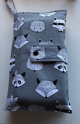 Baby Nappy Wallet - Grey  Forest Animals