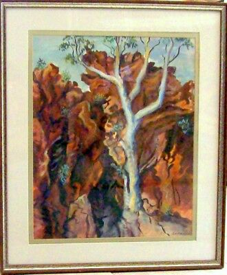 """Large framed watercolour """"Heats Range Country (Ghost Gum)"""" by Ted Herman"""