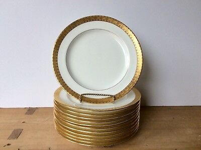 "12 Antique Mintons Luncheon Plates for S&G Gump Co 8 7/8"" Gold Encrusted Excelle"