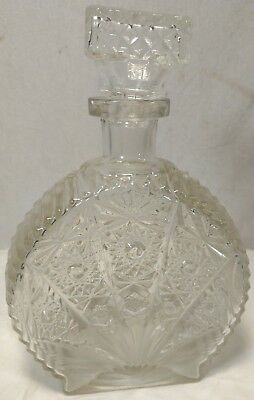 """Vintage Etched Glass Decanter with top """"Patent Pending"""" 9"""" tall"""