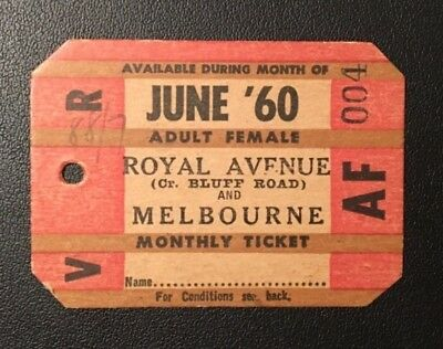 1960 Railway Monthly Train Ticket Royal Avenue & Melbourne Adult Female