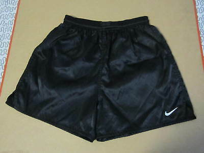 Nike soccer shorts black shiny 90s nylon size small unlined light running vtg