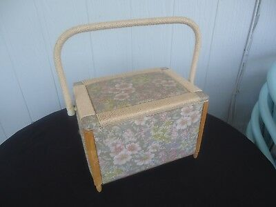 large seagrass cane & timber sewing basket