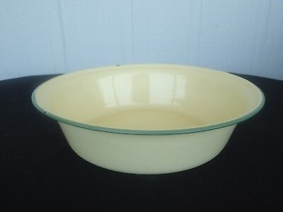 vintage cream & green large enamel fruit bowl bumper harvest