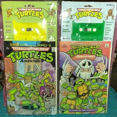 1990 TEENAGE MUTANT NINJA TURTLES TMNT Cassette Tape & COMIC BOOK RARE LOT 2 PCS