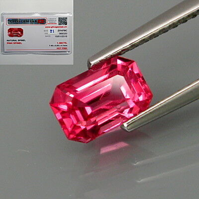 1.38Ct.FREE! Certificate Beautiful Hot Pink Spinel MaeSai,Thailand Perfect Shape