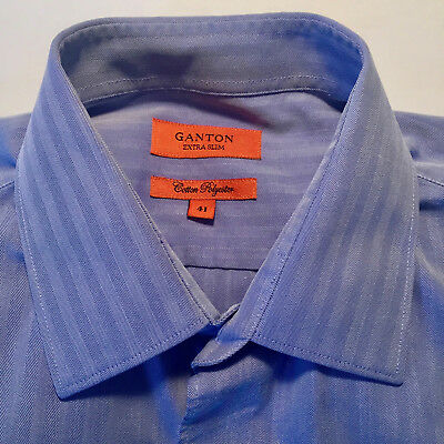 GANTON Mens Long Sleeve Blue Extra Slim Fit Shirt Size 41 Easy care