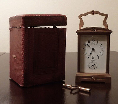 Antique Charles Hour Brass Carriage Clock 8-Day Repeater w/ Alarm Original Case