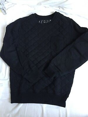 Mens Kenji Black Quilted Jumper XS Extra Small Size
