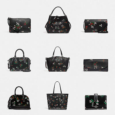 Coach Women Cross Stitch Floral Print Handbag And Wallets (Black)