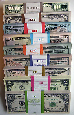 1,2,5,10, 20, 50, 100, 1000, 1000000  Dollar 9 pack 720 pcs Paper Money FOR GAME