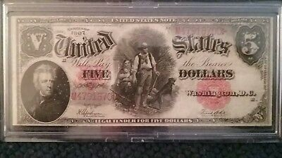 US large note $5 Woodchopper, excellent note. VF 40