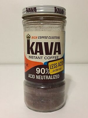 Vintage 1970s Kava Instant Coffee Glass Jar 8 oz Borden 1/2 Full Less Acid 70s