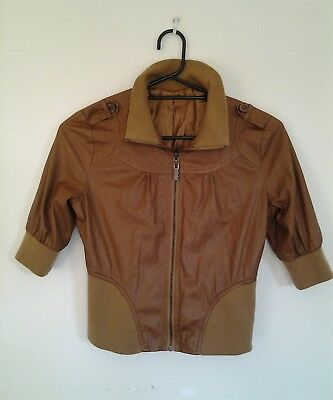 Vintage 60s style Cropped Brown Faux Leather Jacket