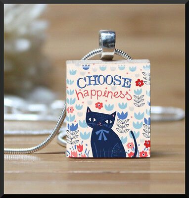 Choose Happiness Cat Scrabble Tile Pendant With Snake Chain Necklace