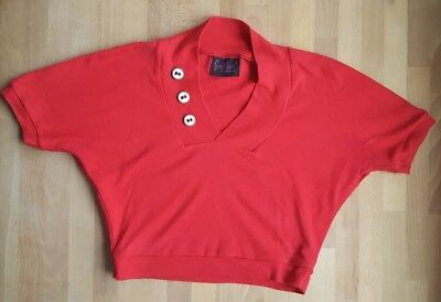 50er vintage retro Freddies of Pinewood red top shirt pin up rockabilly Größe M