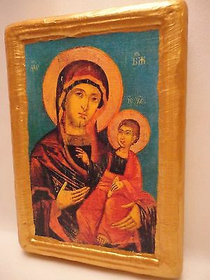 Virgin Mary Madonna and Child  Eastern Orthodox Religious Christianity Wood Icon
