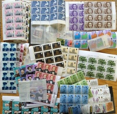 FV £25+ GB Mint (MNH) Stamps (with gum) - Sets of Low value stamps w. Blocks