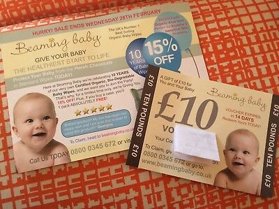 Beaming baby £10 off voucher, and 15% off