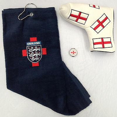 """ENGLAND GOLFERS GIFT SET """"NEW"""" Towel ,Hat Clip Ball Marker & Putter Cover"""