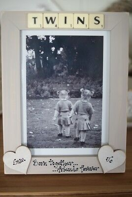 Personalised Photo Frame! Twins Scrabble Tile Gift 7x5''!