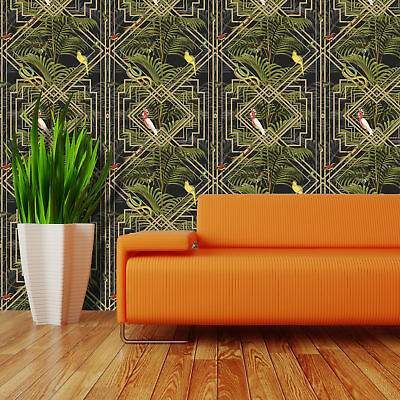 Congo Wallpaper Bird Snakes Butterflies Palm Trees Black Metallic Gold Green