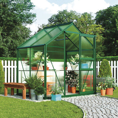 Garden Grow Polycarbonate Greenhouse Aluminium Plastic Glazing Sliding Door 6x4