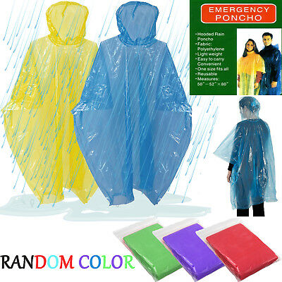 Adult Emergency Raincoat Waterproof Hiking Camping Disposable Hooded Poncho