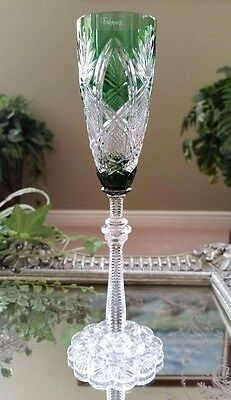 FABERGE Imperial CZAR Emerald Green Cut to Clear Crystal Liqueur Cordial, SIGNED