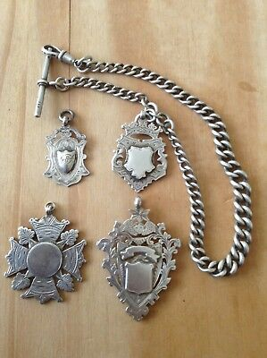 4 Vintage Solid Silver Pocket Watch Albert Chain Fob, Old Antique Medal, Chain