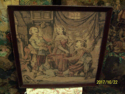 A vintage woven tapestry. Woven tapestry. Group of people, drinking at table.