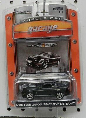 2007 Ford Mustang Custom Shelby Gt 500 Black Silver Muscle Car Gl Greenlight