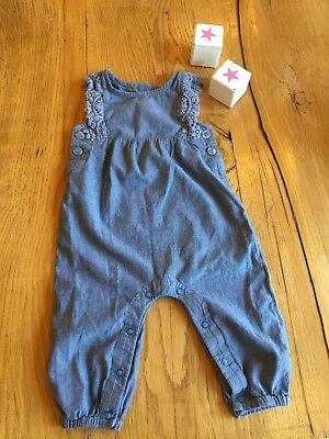 Baby Girls Next Soft Denim Lace Buttoned Blue Dungarees Romper 9-12 Months