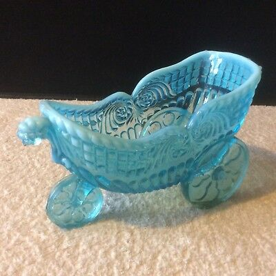 A Fantastic Victorian Greener Pressed Blue Pearline Glass Gadrooned Chariot 1890