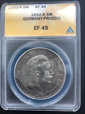 1892-A Germany-Prussia 5 Mark ANACS EF 45 German Empire Silver Coin Crown Dollar