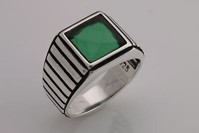 Turkish Handmade Jewelry Square Emerald 925 Sterling Silver Men's Ring Size 11